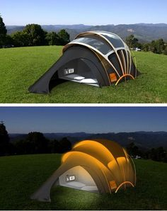 Solar powered tent that you can also charge your gadgets with too....nice