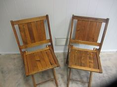Vintage 1950's All Wood Folding Deck Chairs