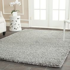 Cozy Solid Silver Shag Rug (4' x 6') | Overstock™ Shopping - Great Deals on Safavieh 3x5 - 4x6 Rugs