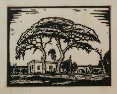 JH Pierneef|, Linocut, 180 x 230 mm, Acacia trees Artist Painting, African Paintings, Art Images, Encaustic Art, Linocut, Tree Illustration, Linocut Prints, South Africa Art, Architecture Painting