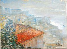 I tetti di Napoli ( Italia ) Anno 1980 circa. Dipinto dal vero. Olio su tela.dim. cm 30 x cm 40. Painting, Palms, Artists, Painting Art, Paintings, Painted Canvas, Drawings