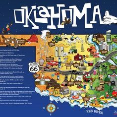 Coolest map of Oklahoma, EVER  Buy them online at: neptoonz.com
