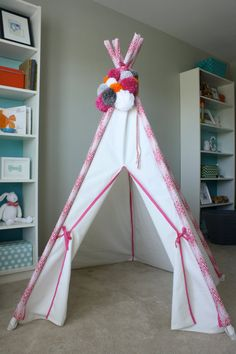 White Canvas Kids Teepee with Contrasting Pink and White Chevron Poles with Pink Trim (Pom pom topper and poles not included) on Etsy, $195.00