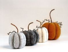 We fell in love with this precious set of needle felted pumpkins by Janine Gardner of Foxtail Creek Studios. Janine has an etsy shop and creates nature inspired miniatures -- we can tell you first...