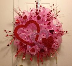 Valentine's Day Deco Mesh Door Wreath Pink Red White Large | eBay