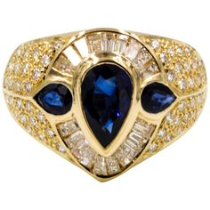 Pear Shaped Blue Sapphire and Diamond 18kt Yellow Gold Ring