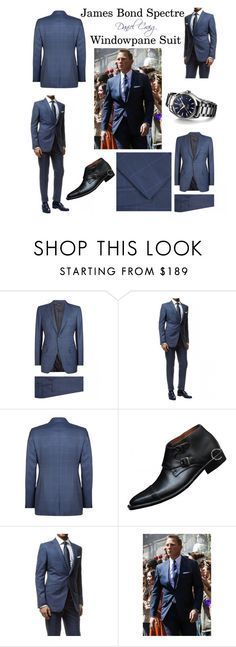 """""""James Bond Spectre Windowpane Suit By Daniel Craig"""" by celebsclothing ❤ liked on Polyvore featuring James Bond 007"""