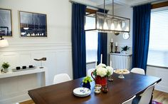 Buying & Selling | BUDGET BLINDS | Krystal & Cam Dining Room Reveal: Draperies: Ashbury Storm; faux wood blinds: Ecru, Drapery hardware: brushed nickel