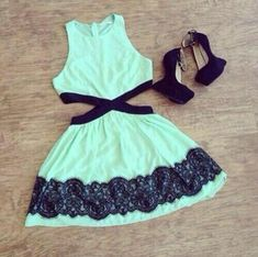 Mint green/black side cut out dress & heels.