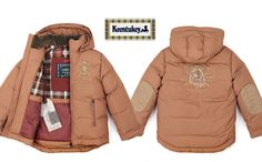 Keentukey downjacket. #keentukey #tartan #plaid #embroideries #elbowpatches #mustard #brown #beige