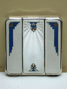 Stunning Antique 1920-30's Sterling Silver Enamel Guilloche Art Deco Compact