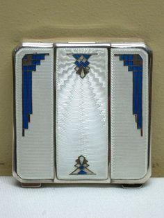 1920-30's Sterling Silver Enamel Guilloche Art Deco Compact. @designerwallace