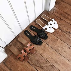 Hermes Oran Slide, Saint Laurent YSL Tribute Slide Sandal, Helena from Brooklyn Blonde.