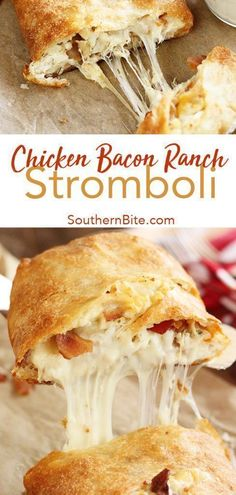 You only need 5 ingredients to get this quick and easy Chicken Bacon Ranch Stromboli on the table. It'll be your family's new favorite supper recipe! # quick and Easy Recipes Chicken Bacon Ranch Stromboli Most Popular Recipes, Favorite Recipes, Popular Food, Frango Bacon, Easy Skillet Dinner, Skillet Dinners, Le Diner, Supper Recipes, Supper Meals