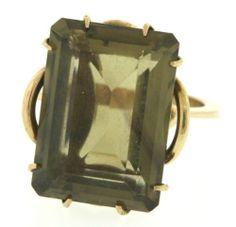 Vintage-18K-gold-12-0CT-Emerald-cut-Smokey-quartz-solitaire-cocktail-ring