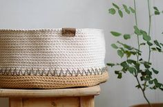 Natural cotton basket