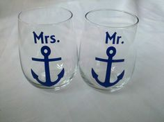 Mr. and Mrs. boat anchor stemless wine glasses, nautical themed wine glasses for bride and groom wedding, navy blue. via Etsy.