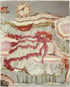 """Hannah Hoch """"Around a Red Mouth"""", 1967  Traditionally in art, the female figure exemplifies an object of beauty. Höch contests this notion with, """"Around a Red Mouth"""". A set of red lips rest on a mountain of pink petticoats. The inclusion of petticoats; worn by women for centuries, draws reference to a traditional and often required uniform for women. However, Höch tears at the petticoats and layers the pink horizontal frays one on top of the other, creating an abstract image of a vagina."""