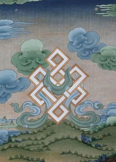 Endless Knot by Tashi Dhargyal Tibetan Symbols, Buddhist Symbols, Tibetan Art, Tibetan Buddhism, Tibetan Rugs, Minnie Mouse Drawing, Vajrayana Buddhism, Thangka Painting, Buddha Art