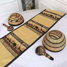 Bring a little bit of Africa to your interior with these African safari theme table runners. Made from high-quality kuba cloth. The heavyweight material provides beautiful safari accent definition for your design while also being the perfect comp. African Wedding Theme, African Theme, African Safari, African Masks, African Style, Safari Home Decor, Safari Theme, African Accessories, African Jewelry