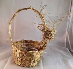 Gold Reindeer Round Wicker Basket 7 inch