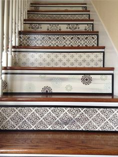 Alternative To Vinyl Stair Decals And Stair Stickers / Geometric Floral /  White Home Decor / Modern Home Decor / Brown Home Decor / Item 099