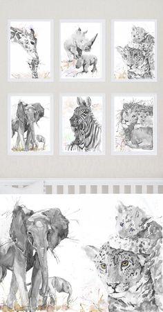 Neutre pépinière Decor Safari Art Set de 6 tirages mère et