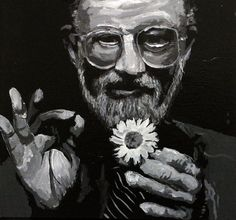 A greyscale portrait of the poet Allen Ginsberg holding a flower. Allen Ginsberg, Jack Kerouac, Drawing S, Daisy, Black And White, Portrait, Painting, Art, Beat Generation