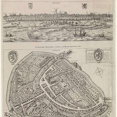 Panorama en plattegrond van Schiedam, 1598, Jacob de Gheyn (II), 1700 - 1800 - Rijksmuseum