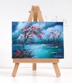 Midnight. Landscape 3x4 inch original mini oil painting
