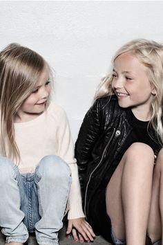 simple casual style fashion clothes girls friends kids kid girl blonde white shirt top jeans denim pants braid kid kids black leather jack jacket