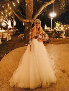 Casa Blanca wedding skirt + plaid shirt bride