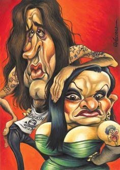 La pareja de músicos y celebrities, Alaska y Mario Vaquerizo, caricaturizados por el artista Joan V...