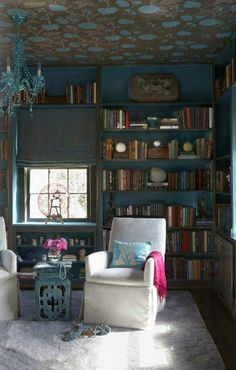 Library room -- love the idea of wallpapering the ceiling