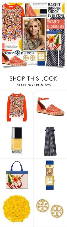 """TORY BURCH"" by celine-diaz-1 ❤ liked on Polyvore featuring Tory Burch, Chanel and Illamasqua"