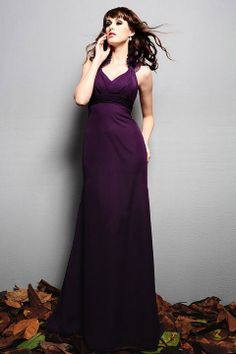 Halter chiffon bridesmaid dress with empire waist