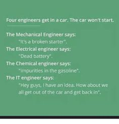 Engineering Humor even better: the CS engineer tells them to close all the windows and restart Engineering Quotes, Engineering Science, Computer Engineering, Chemical Engineering, Mechanical Engineering, Electrical Engineering, Aerospace Engineering, Civil Engineering, E Cards