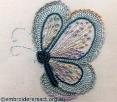 Detail Butterfly Brazilian embroidery stitched by Elvi McCann - Embroiderers' Guild ACT