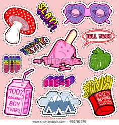 "Set of patches, stickers, badges, pins with heart-shaped sunglasses, mushroom, palm leaf, mountains, ice cream, bag of ""100% Organic Boy tears"", french fries, slang words, etc. Comic style of 80s-90s."