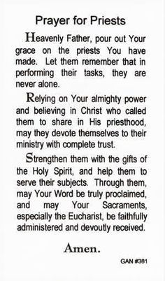 This beautiful Prayer for Priests paper holy card is sold in a pre-pack of 100 cards. A perfect way to honor priests during this jubilee Year of the Prie Prayer Verses, Prayer Book, Prayer Cards, My Prayer, Catholic Quotes, Catholic Prayers, Religious Quotes, Catholic Priest, Roman Catholic