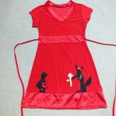 Tunique rouge customisée thème loup et chaperon