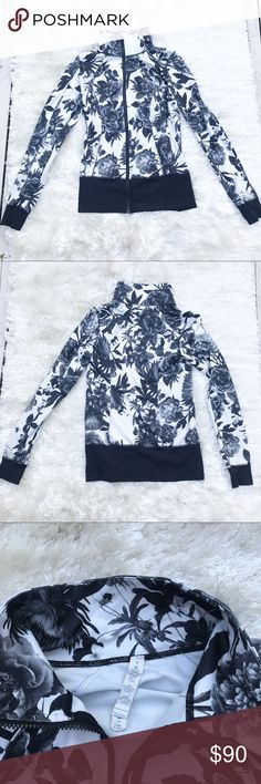 """LULULEMON Nice Asana Brisk Bloom Jacket Brisk bloom pattern zip up by Lululemon Athletica. This is named the """"nice asana"""" jacket. Size 8. GUC. This was my first Lululemon ever but it's time to switch it up! lululemon athletica Jackets & Coats"""