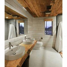 Inspiração nesse banheiro com mix de materiais brutos! Lindo! 🛁 (projeto Hunter Leggitt Studio)