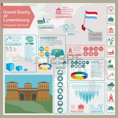 Infografía Luxemburgo, datos estadísticos, de las vistas. Ilustración vectorial