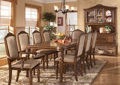 San Martin Dining Table, 4 Side Chairs, 2 Arm Chairs w/ Server & China