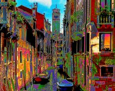Venezia expressionistic expressionistic Giclee print gondolas Large sizes orange red printed-on-canvas free-shipping by DecoratorsArtworks on Etsy Impressionist Paintings, Impressionism, Wooded Landscaping, Landscape Artwork, Beautiful Paintings, Love Art, Art Inspo, Painting Inspiration, Art Reference