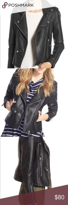 Blank NYC faux leather Moto jacket Worn once for a photo shoot, in perfect condition. From Nordstrom Blank NYC, black moto jacket, super cute cut. Tight fit!! Blank NYC Jackets & Coats