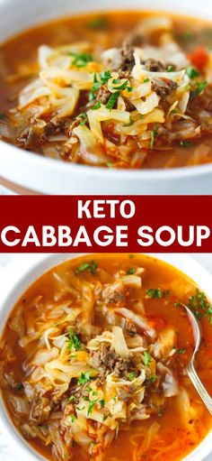KETO CABBAGE SOUP Keto Cabbage Soup very quick and easy to make nutritious and delicious soup made with cabbage ground beef and tomatoes Hearty one pot a family favorite perfect for the cold weather soup dinner Source by cookinglsl Cabbage And Beef, Cabbage Soup Recipes, Easy Soup Recipes, Meat Recipes, Cooking Recipes, Healthy Recipes, Soup With Cabbage, Dinner Recipes, Keto Cabbage Recipe