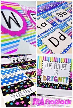 Ideas, Freebies, and Resources for a Neon Classroom Decor Theme - Ideas, Materials, Decorations, Bulletin Board Display, Student Job Cards, Grouping Cards, Binder Covers, Alphabet and Cursive Posters, Welcome Banner, Name Tags $