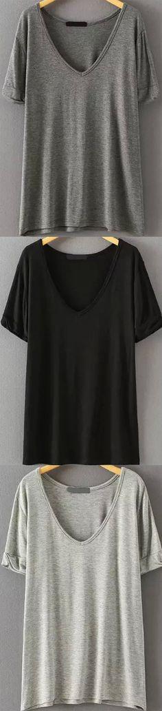 Fall Style: V Neck Loose Grey T-shirt